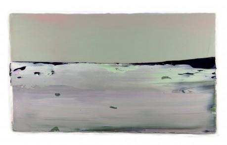 Noordlicht  34 x 59 cm  encaustiek en olieverf op houtpaneel
