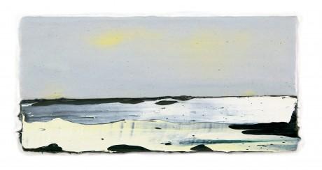 Zonlicht in Winter  15 x 31 x 6 cm encaustiek en olieverf op zeehout