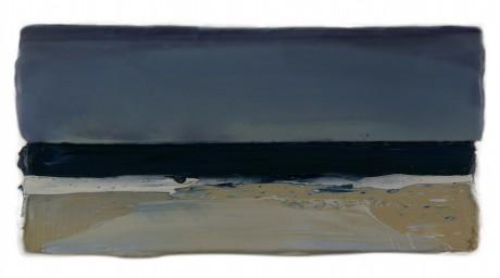 Strand  15 x 29 cm encaustiek en olieverf op zeehout