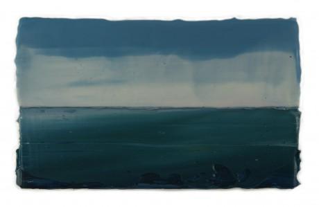 Regenbui aan Zee  14 x 24 cm  encaustiek en olieverf op zeehout