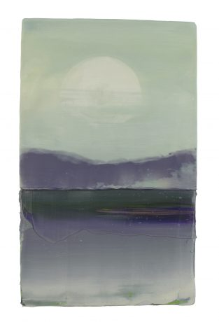 Full Moon encaustiek en olieverf op eikenhout 37 x 22,5 x 4 cm private collection