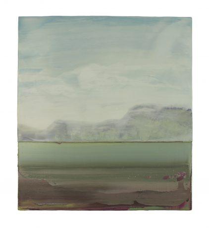 Japanse Landscape I encaustiek en olieverf op houtpaneel 50 x 45 cm