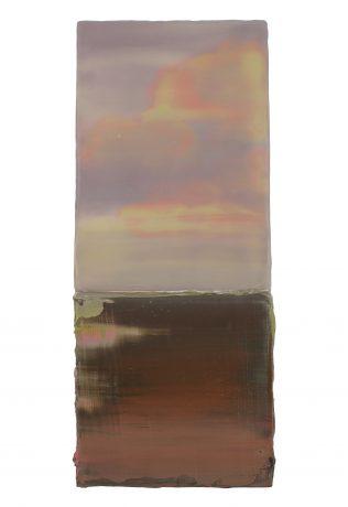 Sunset 2019 encaustiek en olieverf op hout 32 x 13 x 8 cm