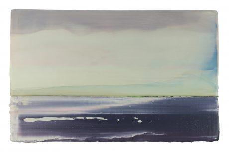 Zeewind encaustiek en olieverf op hout 26 x 40 cm