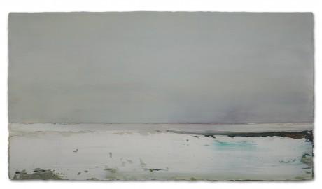 Winter bij het Wad 61 x 112 cm encaustiek en olieverf op houtpaneel
