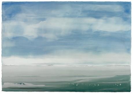 Wolkenlucht boven zee 71 x 100 cm encaustiek en olieverf op houtpaneel