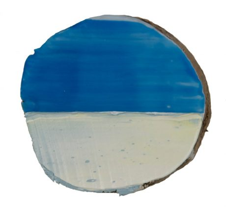 Horizon diameter 14 cm encaustiek en olieverf op boomstam  -  private collection
