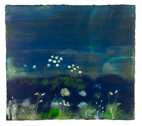 Moonlight Garden 40 x 45 cm encaustiek op hout