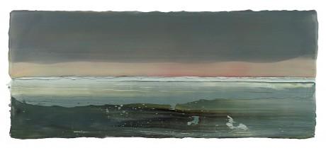 Sneeuwlucht 22 x 52 x 5 cm encaustiek en olieverf op zeehout