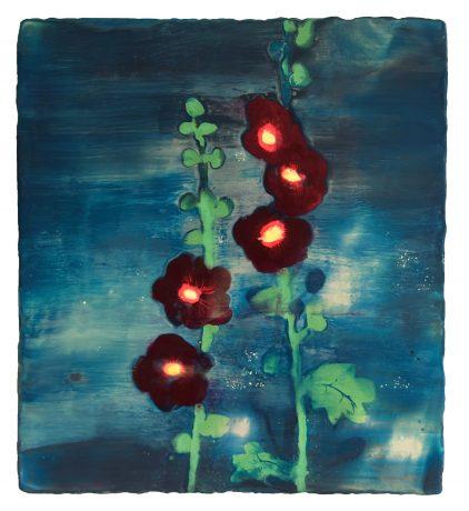 Zwarte Stokroos 2012 56,5 x 51,5 cm encaustiek op houtpaneel, collectie Museum Belvédère Heerenveen