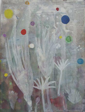 De Tuin 2012 aquarel, gouache en collage op papier 28 x 22 cm