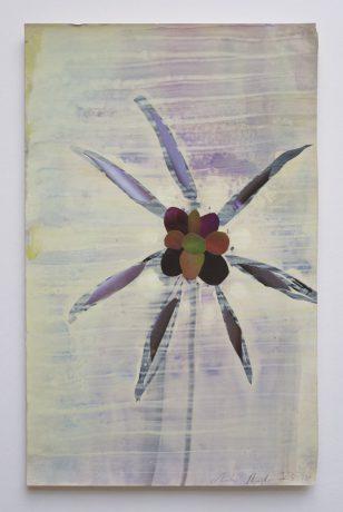 Dahlia 2012 aquarel gouache en collage op antiek papier 28 x 18 cm
