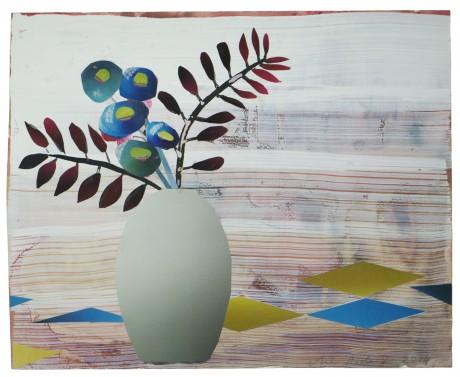 Grijze Vaas met Bloemen 2014  21 x 26 cm