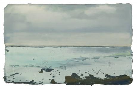 Bewolkte Dag aan Zee  15 x 25 cm encaustiek en olieverf op hout