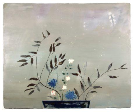 Moribana Winter 2013 encaustiek op houtpaneel 57 x 69 cm