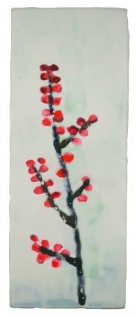 Rode Bessen 26 x 10 cm encaustiek op hout
