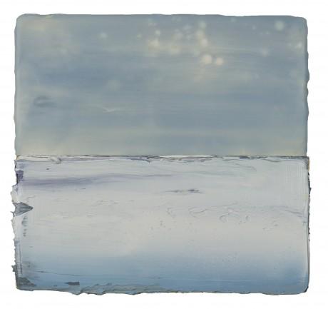 Sneeuw  19 x 20 cm  encaustiek en olieverf op zeehout