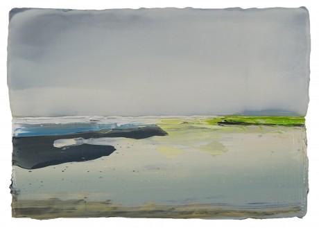 Strand in de lente  19 x 28 cm encaustiek en olieverf op zeehout