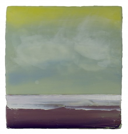 Wolken  33 x 32 cm  encaustiek en olieverf op hout