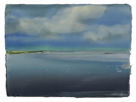 Wolken boven Watervlakte  18 x 24 cm  encaustiek en olieverf op hout