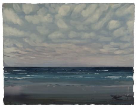 Wolkenlucht boven Zee  56 x 72 cm encaustiek en olieverf op houtpaneel