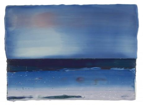 Het blauwe uur 22 x 30 cm encaustiek en olieverf op eikenhout