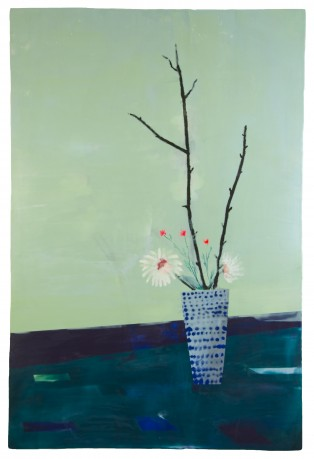 Ikebana 2014 encaustiek op houtpaneel 121 x 81 cm