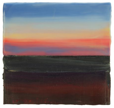 Sundown 25 x 27 cm encaustic en olieverf op hout - private collection