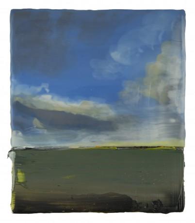 Voorjaarswolken 21 x 18 cm encaustiek en olieverf op hout