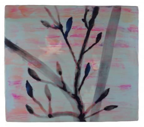 Magnolia 35 x 40 cm encaustiek op hout