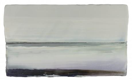 Wintervlakte 20 x 34 cm encaustiek en olieverf op hout