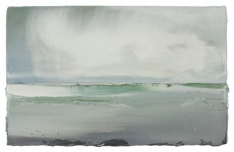Wolken aan Zee 26 x 41 cm encaustiek en olieverf op hout