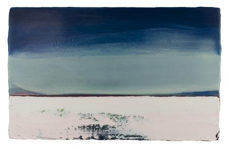 April Sky I 25 x 41 cm encaustiek en olieverf op hout
