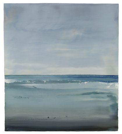 Noordzee 92,5 x 83 cm encaustiek en olieverf op houtpaneel