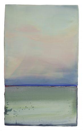 Blue Horizon 50 x 30 cm encaustiek en olieverf op hout