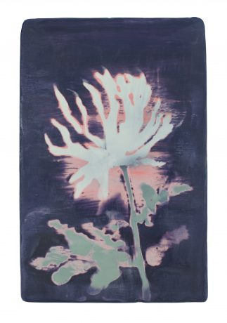 Dahlia 23 x 15 cm encaustiek op hout