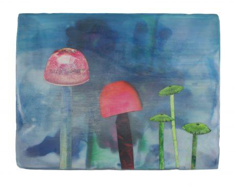Mushrooms 22 x 29 cm encaustiek op hout
