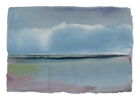 Wolken & Water 17 x 24 x 6 cm encaustiek en olieverf op zeehout