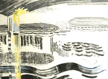 Els Timmerman 'Onder de brug 140 x 110 cm houtskool op papier