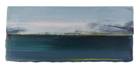 Arctic Landscape 17 x 39 cm encaustic and oilpaint on wood
