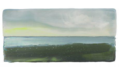 Groene Kust 14 x 30,5 cm encaustiek en olieverf op zeehout - courtesy Galerie de Vis Harlingen