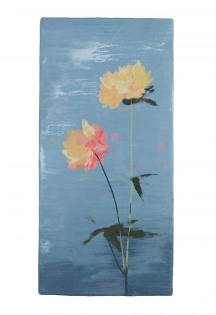 Japanese Flowers 2018 encaustic op eikenhout 36,5 x 18 cm