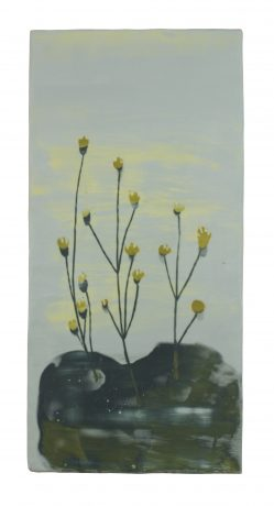 Moss 36,5 x 17,5 cm encaustic on oakwood