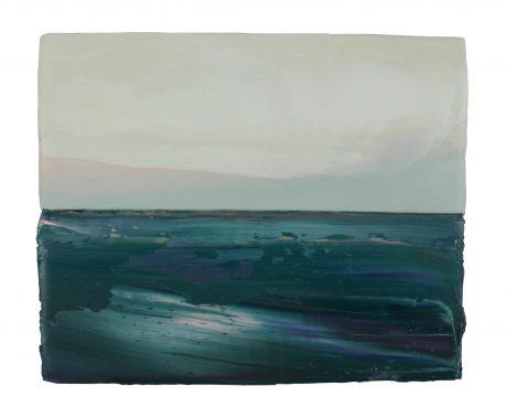 Oceanwaves 15 x 18 cm encaustic and oilpaint on wood