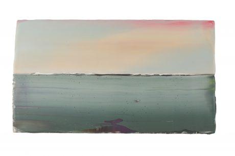Sunrise 2018 encaustic en olieverf op hout 17 x 31 cm