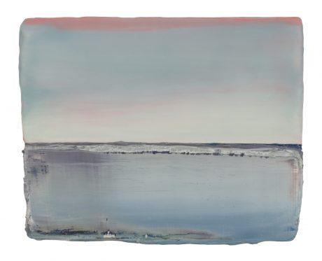 Sunrise Sea 19 x 24 x 6 cm encaustic and oilpaint on wood