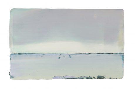 Windstil op het Wad 17 x 28 cm encaustiek en olieverf op hout - Courtesy Galerie de Vis Harlingen