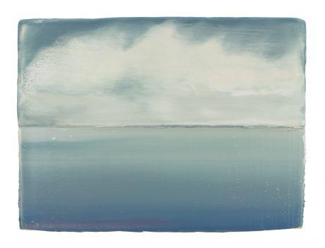 Wolken en Water 2018 encaustiek en olieverf op hout 18 x 24 cm