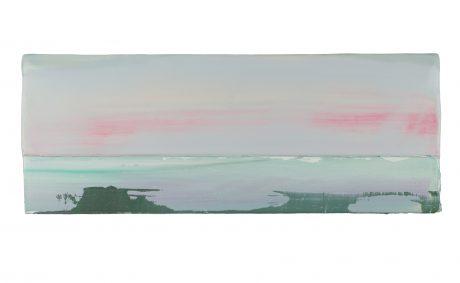 Het Wad, zomer 2018 encaustiek en olieverf op hout 16 x 40 cm